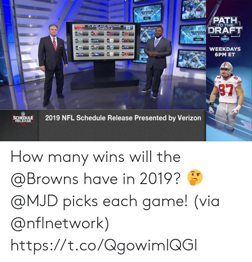 Cleveland Browns, Memes, and Nfl: EDi  PATH  DRAFT  TO THE  CLEVELAND BROWNS  SCHEDU  CLEOU  WEEKDAYS  6PM ET  SC2019 NFL Schedule Release Presented by Verizon  SCHEDULE  RELEASE How many wins will the @Browns have in 2019? 🤔  @MJD picks each game! (via @nflnetwork) https://t.co/QgowimlQGl