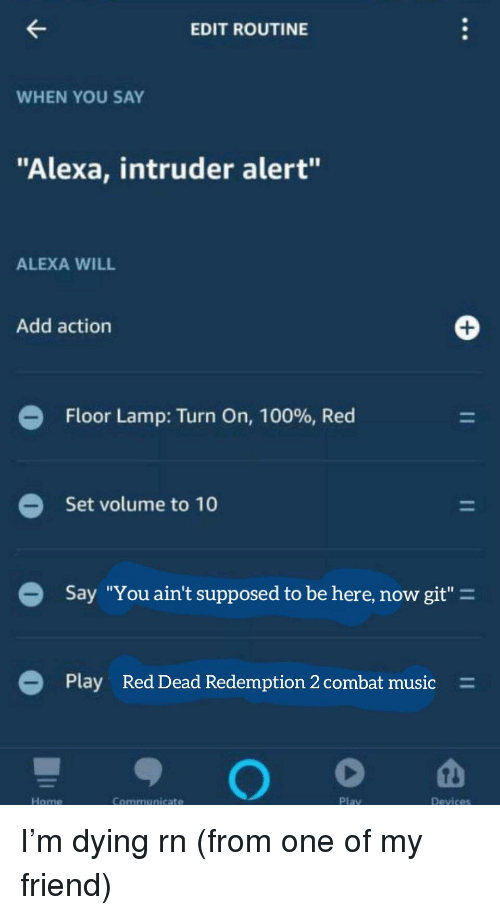 """Anaconda, Music, and Reddit: EDIT ROUTINE  WHEN YOU SAY  """"Alexa, intruder alert""""  ALEXA WILL  Add action  Floor Lamp: Turn On, 100%, Red  Set volume to 10  Say """"You ain't supposed to be here, now git""""-  Play  Red Dead Redemption 2 combat music  =  Home  Communicate  Play"""