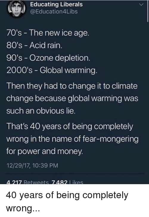 Mongering: Educating Liberal:s  @Education4Libs  70's - The new ice age.  80's - Acid rain  90's - Ozone depletion.  2000's - Global warming.  Then they had to change it to climate  change because global warming was  such an obvious lie.  That's 40 years of being completely  wrong in the name of fear-mongering  for power and money.  12/29/17, 10:39 PM  4.217 Retweets 7.482 Likes 40 years of being completely wrong...