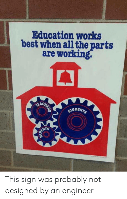 Best, All The, and Working: Education works  best when all the parts  are working.  E CHETE  STUDENTS  RENTS This sign was probably not designed by an engineer