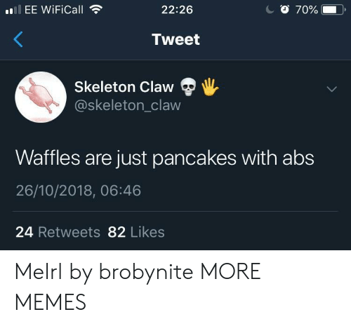 waffles: EE WiFiCall  22:26  Tweet  Skeleton Claw  @skeleton_claw  Waffles are just pancakes with abs  26/10/2018, 06:46  24 Retweets 82 Likes MeIrl by brobynite MORE MEMES