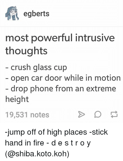 jumps off: egberts  most powerful intrusive  thoughts  crush glass cup  open car door while in motion  drop phone from an extreme  height  19,531 notes -jump off of high places -stick hand in fire - d e s t r o y (@shiba.koto.koh)