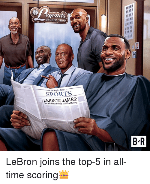 Barber, LeBron James, and Nba: egends  BARBER SHOP  Cos Angeles Times  SPORTS  LEBRON JAMES:  5th All-Time Scorer in NBA History  B R LeBron joins the top-5 in all-time scoring👑