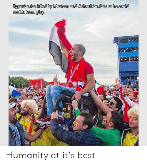 Egyptian: Egyptian fan lifted by Mexican and Colombian fans so he could  see his team play. Humanity at it's best