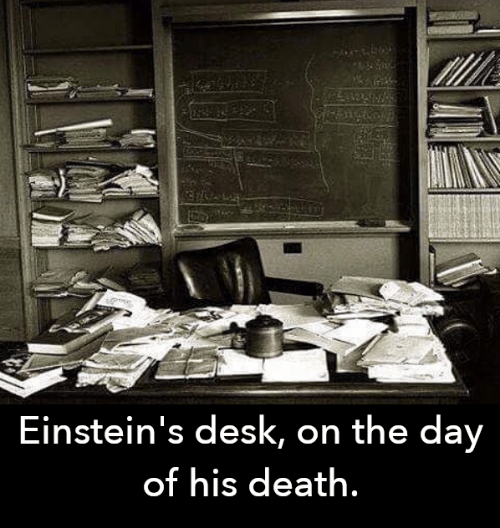 On The Day: Einstein's desk, on the day  of his death