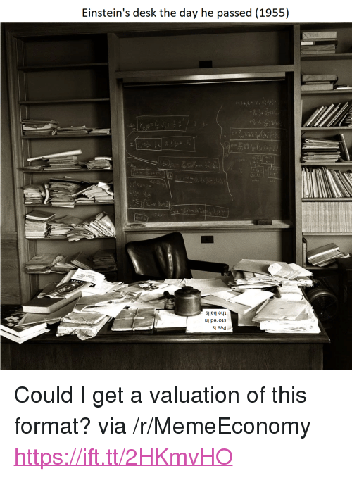 "aad: Einstein's desk the day he passed (1955)  sileq ayp  sl aad <p>Could I get a valuation of this format? via /r/MemeEconomy <a href=""https://ift.tt/2HKmvHO"">https://ift.tt/2HKmvHO</a></p>"