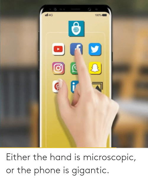 gigantic: Either the hand is microscopic, or the phone is gigantic.