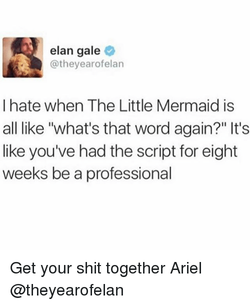 """the little mermaid: elan gale  @theyearofelan  I hate when The Little Mermaid is  all like """"what's that word again?"""" It's  like you've had the script for eight  weeks be a professional Get your shit together Ariel @theyearofelan"""