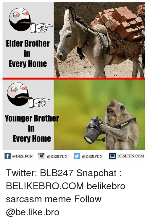 Broing: Elder Brother  in  Every Home  Younger Brother  in  Every Home  困@DESIFUN 증@DESIFUN @DESIFUN DESIFUN.COM Twitter: BLB247 Snapchat : BELIKEBRO.COM belikebro sarcasm meme Follow @be.like.bro