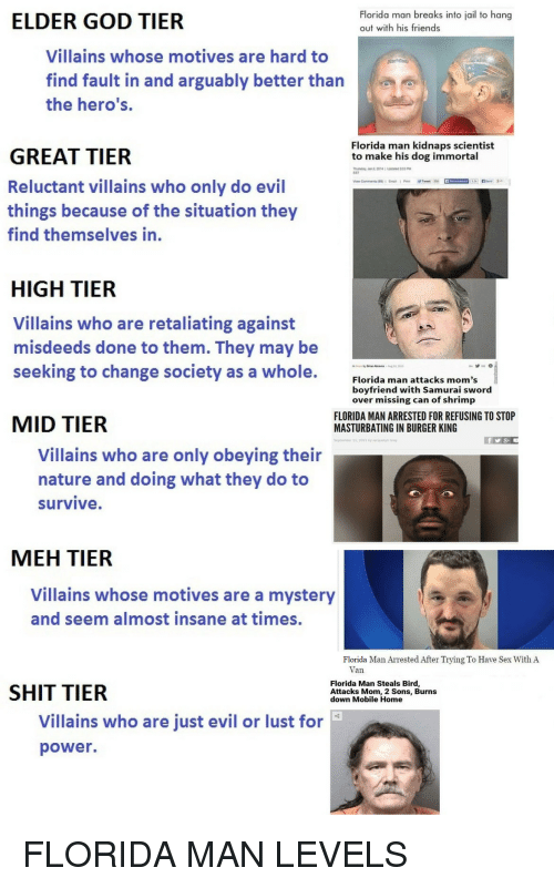 Samurai: ELDER GOD TIER  Florida man breaks into jail to hang  out with his friends  Villains whose motives are hard to  find fault in and arguably better than  the hero's.  Florida man kidnaps scientist  to make his dog immortal  GREAT TIER  Reluctant villains who only do evil  things because of the situation they  find themselves in.  EST  HIGH TIER  Villains who are retaliating against  misdeeds done to them. They may be  seeking to change society as a whole.  Florida man attacks mom's  boyfriend with Samurai sword  over missing can of shrimp  MID TIER  FLORIDA MAN ARRESTED FOR REFUSING TO STOP  MASTURBATING IN BURGER KING  Villains who are only obeying their  nature and doing what they do to  survive  MEH TIER  Villains whose motives are a mystery  and seem almost insane at times  Florida Man Arrested After Trying To Have Sex With A  Van  SHIT TIER  Florida Man Steals Bird  Attacks Mom, 2 Sons, Burns  down Mobile Home  Villains who are just evil or lust for  power. FLORIDA MAN LEVELS