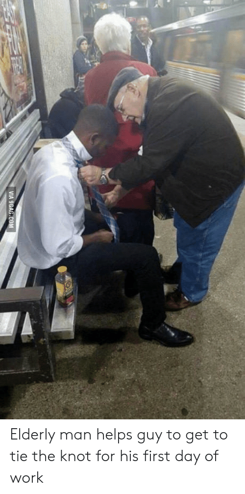 the knot: Elderly man helps guy to get to tie the knot for his first day of work