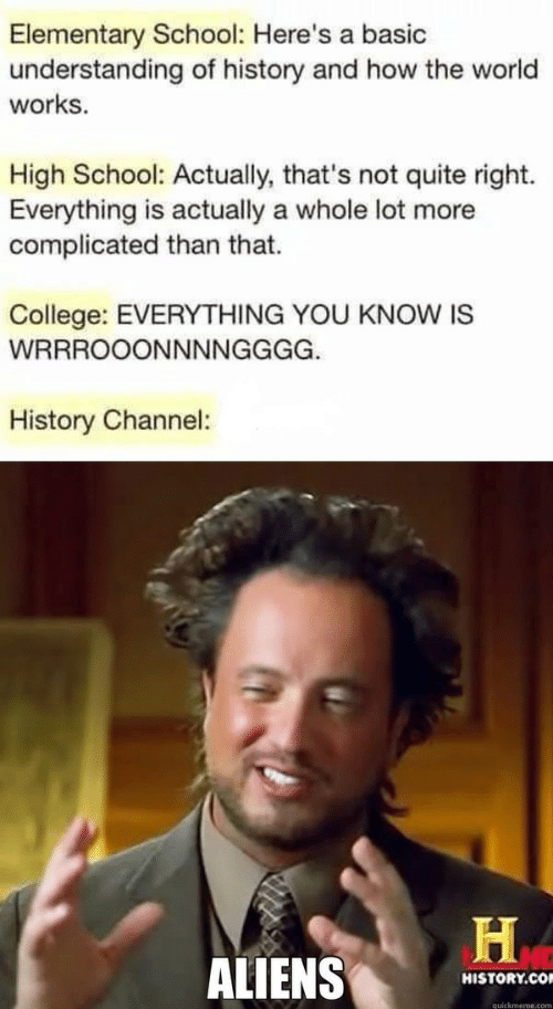 Quickmeme Com: Elementary School: Here's a basic  understanding of history and how the world  works  High School: Actually, that's not quite right.  Everything is actually a whole lot more  complicated than that.  College: EVERYTHING YOU KNOW IS  WRRROOONNNNGGGG.  History Channel:  ALIENS  HISTORY.CO  quickmeme.com