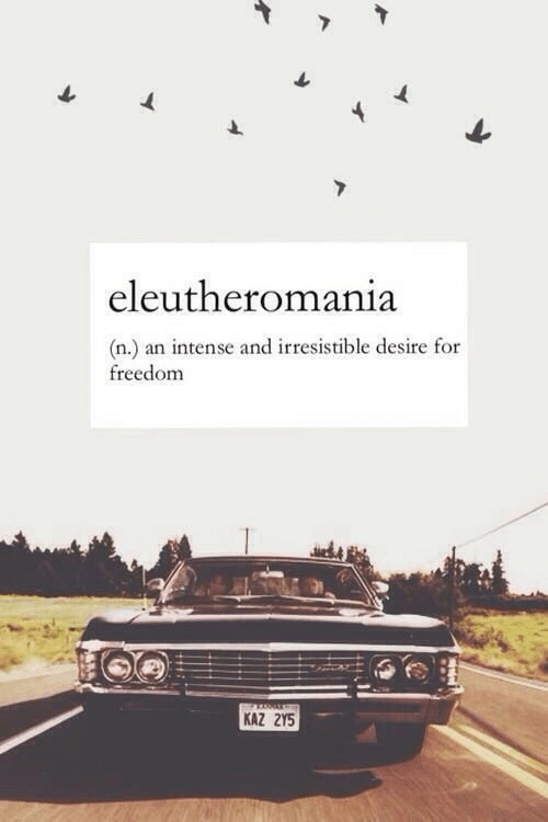 Irresistible: eleutheromania  (n.) an intense and irresistible desire for  freedom  KAZ 2Y5