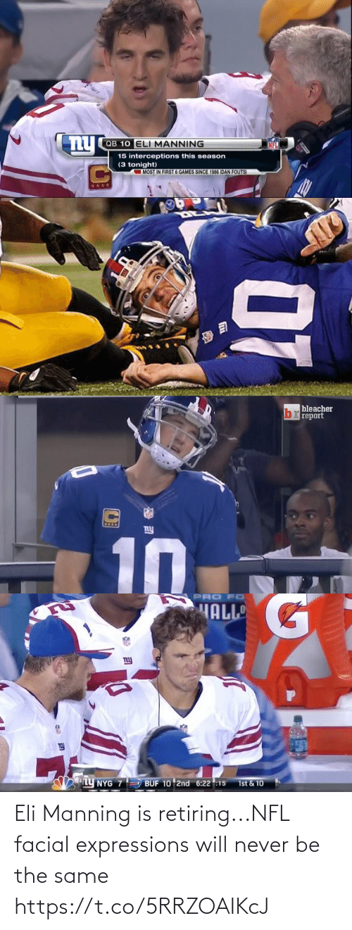 Will Never: Eli Manning is retiring...NFL facial expressions will never be the same https://t.co/5RRZOAIKcJ