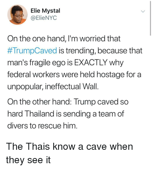 on the other hand: Elie Mystal  @ElieNYOC  On the one hand, l'm worried that  #TrumpCaved is trending, because that  man's fragile ego is EXACTLY why  federal workers were held hostage for a  unpopular, ineffectual Wall.  On the other hand: Trump caved so  hard Thailand is sending a team of  divers to rescue him The Thais know a cave when they see it