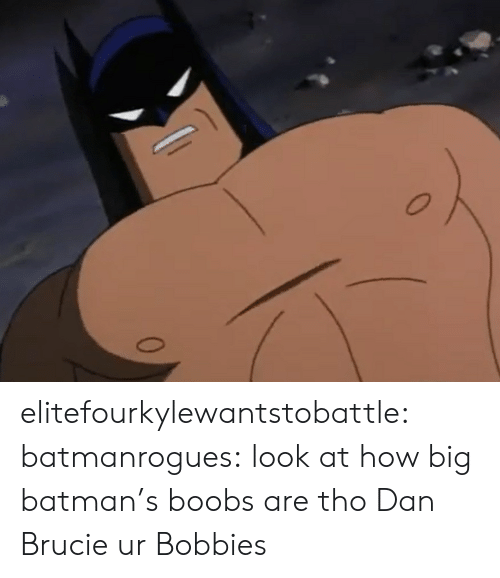 Batman: elitefourkylewantstobattle:  batmanrogues:  look at how big batman's boobs are tho  Dan Brucie ur Bobbies