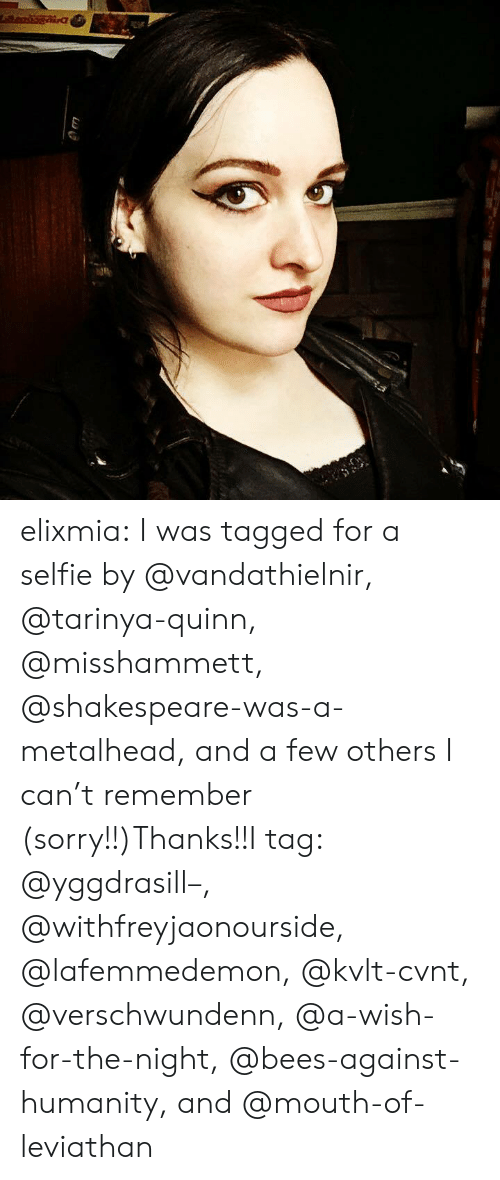 Selfie, Shakespeare, and Sorry: elixmia:  I was tagged for a selfie by @vandathielnir, @tarinya-quinn, @misshammett, @shakespeare-was-a-metalhead, and a few others I can't remember (sorry!!)Thanks!!I tag: @yggdrasill–, @withfreyjaonourside, @lafemmedemon, @kvlt-cvnt, @verschwundenn, @a-wish-for-the-night, @bees-against-humanity, and @mouth-of-leviathan