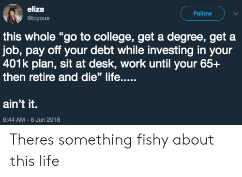 """401k: eliza  @icyoue  Follow  this whole """"go to college, get a degree, get a  job, pay off your debt while investing in your  401k plan, sit at desk, work until your 65+  then retire and die"""" life....  ain't it.  9:44 AM-8 Jun 2018 Theres something fishy about this life"""