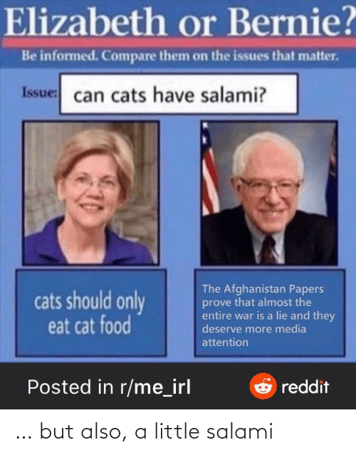 Bernie: Elizabeth or Bernie?  Be informed. Compare them on the issues that matter.  Issue: can cats have salami?  The Afghanistan Papers  prove that almost the  entire war is a lie and they  deserve more media  cats should only  eat cat food  attention  Posted in r/me_irl  Oreddit … but also, a little salami
