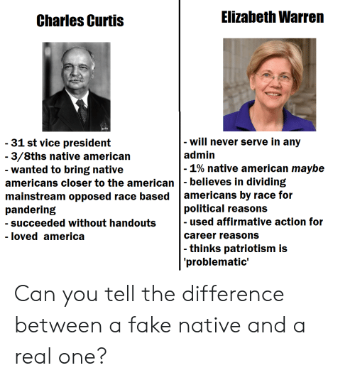 America, Elizabeth Warren, and Fake: Elizabeth Warren  Charles Curtis  will never serve in any  -31 st vice president  - 3/8ths native american  admin  1% native american maybe  wanted to bring native  americans closer to the american believes in dividing  mainstream opposed race based americans by race for  pandering  political reasons  - used affirmative action for  career reasons  succeeded without handouts  - loved america  thinks patriotism is  problematic' Can you tell the difference between a fake native and a real one?