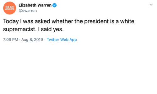 Elizabeth Warren, Twitter, and Today: Elizabeth Warren  END GUN  VIOLENCE  @ewarren  Today I was asked whether the president is a white  supremacist. I said yes.  7:09 PM Aug 8, 2019 Twitter Web App