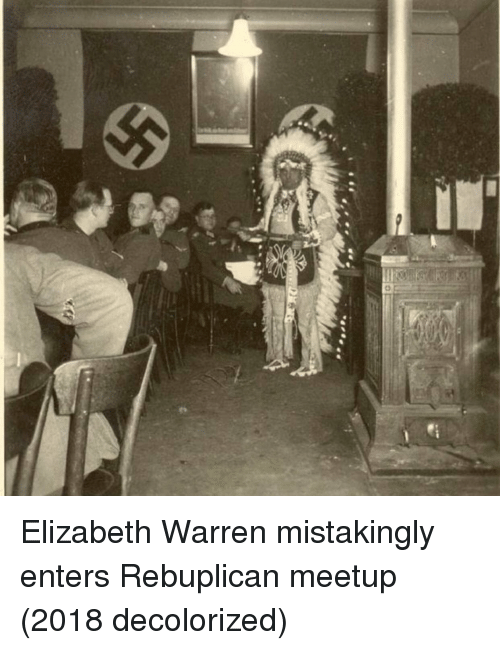 Elizabeth Warren, Meetup, and Elizabeth: Elizabeth Warren mistakingly enters Rebuplican meetup (2018 decolorized)