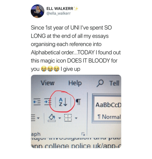 Help, Magic, and Today: ELL WALKERR  @ella_walkerr  Since 1st year of UNI I've spent SO  LONG at the end of all my essays  organising each reference into  Alphabetical order...TODAY l found out  this magic icon DOES IT BLOODY for  yoI give up  View Help  Tell  l Normal  aph