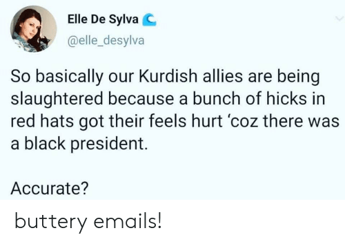 Politics, Black, and Kurdish: Elle De Sylva C  @elle_desylva  So basically our Kurdish allies are being  slaughtered because a bunch of hicks in  red hats got their feels hurt 'coz there was  a black president.  Accurate? buttery emails!