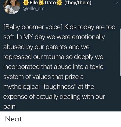 """values: Elle Gato  @ellle_em  (they/them)  [Baby boomer voice] Kids today are too  soft. In MY day we were emotionally  abused by our parents and we  repressed our trauma so deeply we  incorporated that abuse into a toxic  system of values that prize a  mythological """"toughness"""" at the  expense of actually dealing with our  pain Neat"""