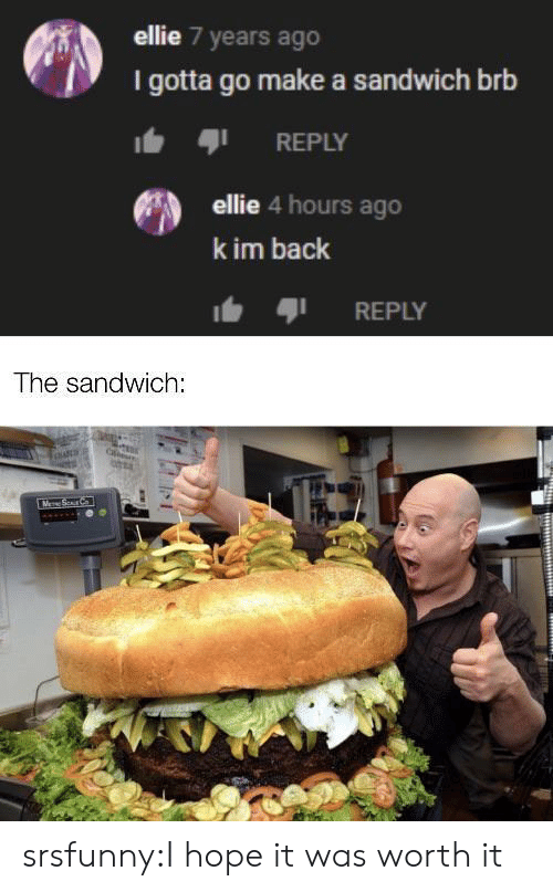 4 Hours: ellie 7 years ago  I gotta go make a sandwich brb  REPLY  ellie 4 hours ago  k im back  REPLY  The sandwich:  M Sur C srsfunny:I hope it was worth it
