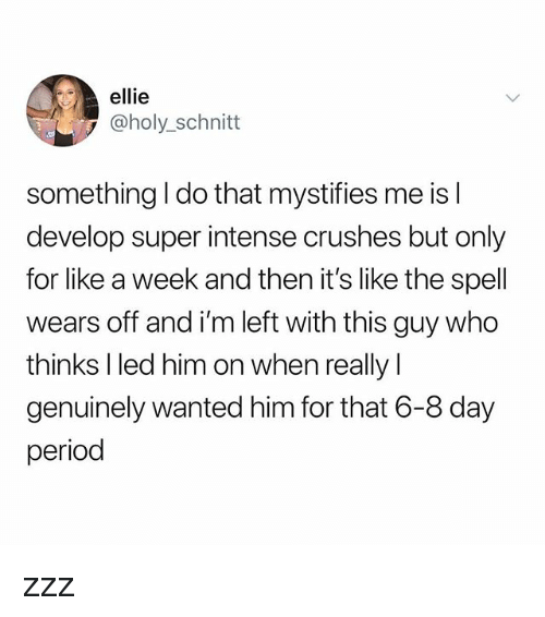 Memes, Period, and 🤖: ellie  @holy_schnitt  something I do that mystifies me is l  develop super intense crushes but only  for like a week and then it's like the spell  wears off and i'm left with this guy who  thinks lled him on when really l  genuinely wanted him for that 6-8 day  period zzz