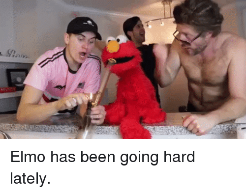going hard: Elmo has been going hard lately.