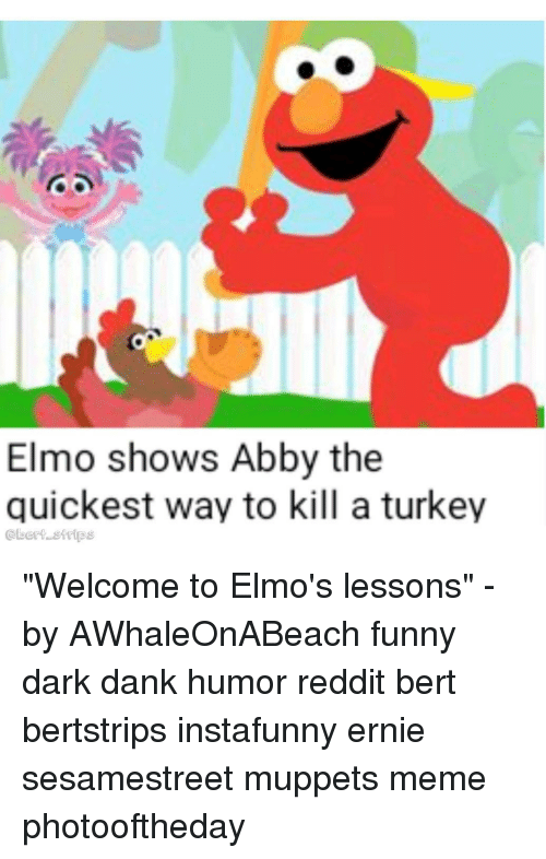 "Dank, Elmo, and Funny: Elmo shows Abby the  quickest way to kill a turkey  @bert stips ""Welcome to Elmo's lessons"" - by AWhaleOnABeach funny dark dank humor reddit bert bertstrips instafunny ernie sesamestreet muppets meme photooftheday"
