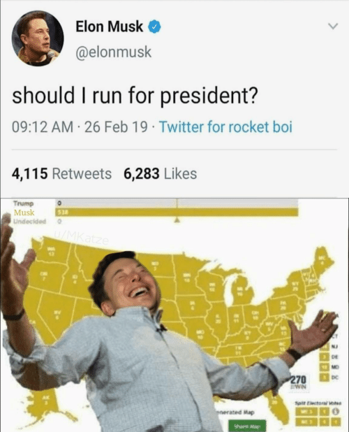 For President: Elon Musk <  @elonmusk  should I run for president?  09:12 AM 26 Feb 19 Twitter for rocket boi  4,115 Retweets 6,283 Likes  Trump  Musk  Undecided  528  wv  12  N2  DE  MO  DC  ated Map  Share Mag
