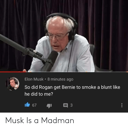 8 Minutes: Elon Musk 8 minutes ago  So did Rogan get Bernie to smoke a blunt like  he did to me?  3  67 Musk Is a Madman