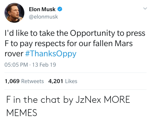 mars rover: Elon Musk  @elonmusk  l'd like to take the Opportunity to press  F to pay respects for our fallen Mars  rover #ThanksOppy  05:05 PM-13 Feb 19  1,069 Retweets 4,201 Likes F in the chat by JzNex MORE MEMES