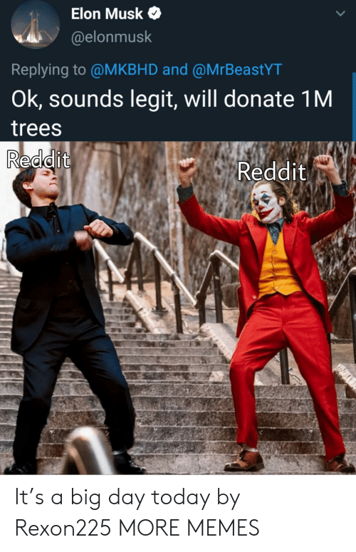 Dank, Memes, and Reddit: Elon Musk  @elonmusk  Replying to @MKBHD and @MrBeastYT  Ok, sounds legit, will donate 1M  trees  Reddit  Reddit It's a big day today by Rexon225 MORE MEMES