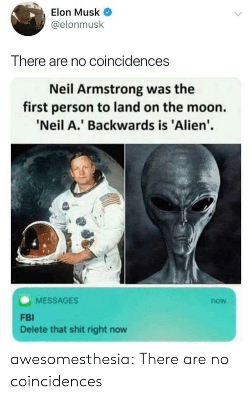 Neil: Elon Musk  @elonmusk  There are no coincidences  Neil Armstrong was the  first person to land on the moon.  'Neil A.' Backwards is 'Alien'  MESSAGES  now  FBI  Delete that shit right now awesomesthesia:  There are no coincidences