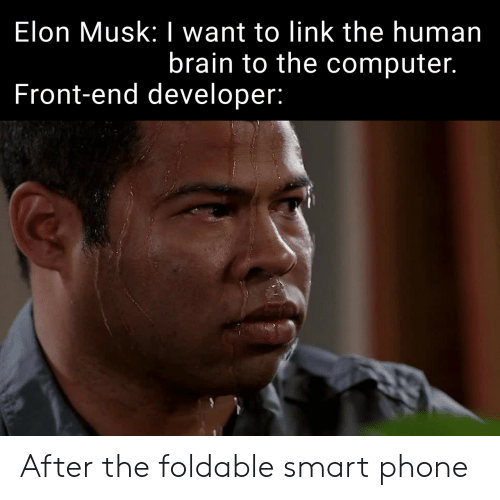 Phone, Brain, and Computer: Elon Musk: I want to link the human  brain to the computer.  Front-end developer: After the foldable smart phone