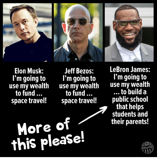 Jeff Bezos, LeBron James, and Parents: Elon Musk:  Jeff Bezos:  LeBron James:  l'm going to I'm going to'm going to  use my wealth use my wealth use my wealth  to build a  space travel space travel! public school  that helps  students and  their parents!  to fund.  to fund  More of  this please!  Other98