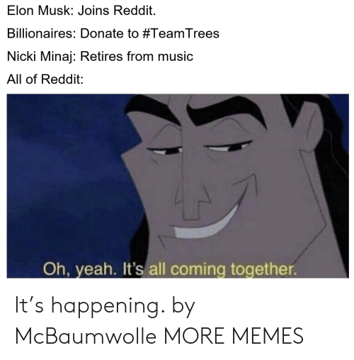 minaj: Elon Musk: Joins Reddit.  Billionaires: Donate to #TeamTrees  Nicki Minaj: Retires from music  All of Reddit:  Oh, yeah. It's all coming together It's happening. by McBaumwolle MORE MEMES