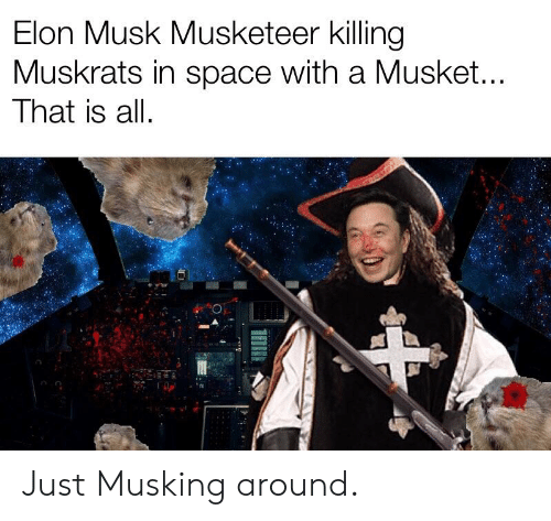 Elon Musk Musketeer Killing Muskrats in Space With a Musket That Is