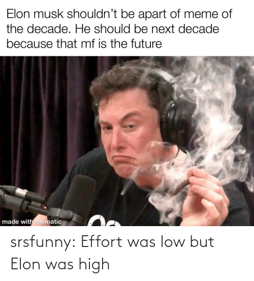 The Future: Elon musk shouldn't be apart of meme of  the decade. He should be next decade  because that mf is the future  made with mematic srsfunny:  Effort was low but Elon was high