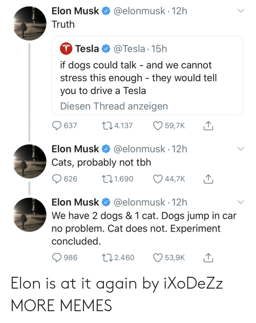 Cats, Dank, and Dogs: Elon Musk  Truth  @elonmusk. 12h  Tesla @Tesla 15h  if dogs could talk - and we cannot  stress this enough - they would tell  you to drive a Tesla  Diesen Thread anzeigen  637 4.137 59,7K T  Elon Musk @elonmusk 12h  Cats, probably not tbh  626 t 1.690 447K  Elon Musk@elonmusk 12h  We have 2 dogs & 1 cat. Dogs jump in car  no problem. Cat does not. Experiment  concluded  986 t 2.460 539K Elon is at it again by iXoDeZz MORE MEMES