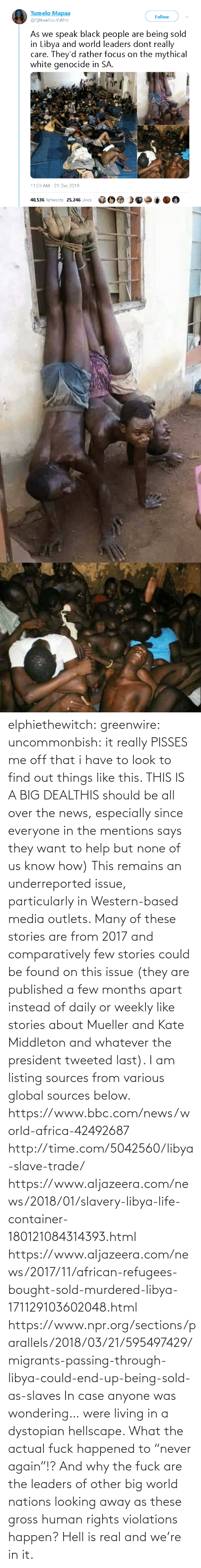 "find: elphiethewitch: greenwire:  uncommonbish:  it really PISSES me off that i have to look to find out things like this. THIS IS A BIG DEALTHIS should be all over the news, especially since everyone in the mentions says they want to help but none of us know how)  This remains an underreported issue, particularly in Western-based media outlets. Many of these stories are from 2017 and comparatively few stories could be found on this issue (they are published a few months apart instead of daily or weekly like stories about Mueller and Kate Middleton and whatever the president tweeted last). I am listing sources from various global sources below.  https://www.bbc.com/news/world-africa-42492687 http://time.com/5042560/libya-slave-trade/ https://www.aljazeera.com/news/2018/01/slavery-libya-life-container-180121084314393.html https://www.aljazeera.com/news/2017/11/african-refugees-bought-sold-murdered-libya-171129103602048.html https://www.npr.org/sections/parallels/2018/03/21/595497429/migrants-passing-through-libya-could-end-up-being-sold-as-slaves   In case anyone was wondering… were living in a dystopian hellscape.  What the actual fuck happened to ""never again""!? And why the fuck are the leaders of other big world nations looking away as these gross human rights violations happen?  Hell is real and we're in it."