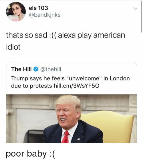 """Memes, American, and London: els 103  @bandkjnks  thats so sad :(( alexa play american  idiot  The Hill@thehill  Trump says he feels """"unwelcome"""" in London  due to protests hill.cm/3WsYF50 poor baby :("""