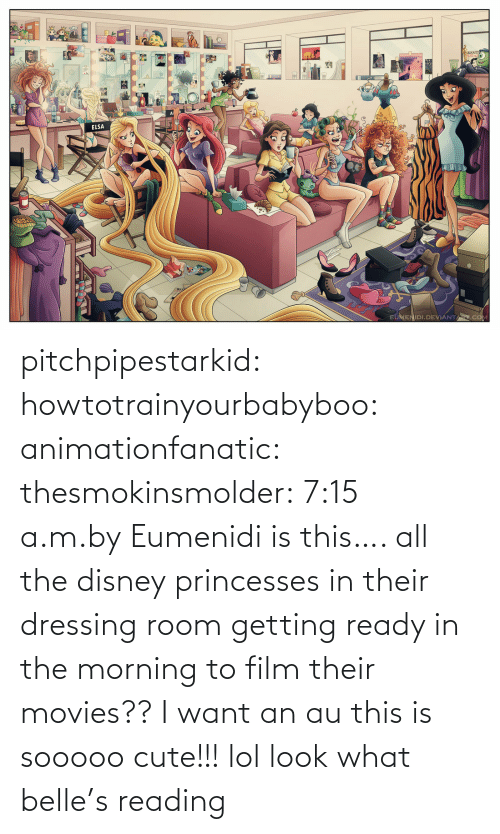 Getting Ready In The Morning: ELSA  EUMENIDI.DEVIANTARI.COM pitchpipestarkid:  howtotrainyourbabyboo:  animationfanatic:  thesmokinsmolder:  7:15 a.m.byEumenidi  is this…. all the disney princesses in their dressing room getting ready in the morning to film their movies?? I want an au  this is sooooo cute!!!  lol look what belle's reading