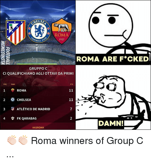 Chelsea, Memes, and Atletico: ELSE  ROMA  1927  ROMA ARE FCKED  GRUPPO C  CI QUALIFICHIAMO AGLI OTTAVI DA PRIMI  空ROMA  2 O CHELSEA  3 ATLÉTICO DE MADRID  4 FK QARABAG  7  2  DAMN!  👏🏻👏🏻 Roma winners of Group C ...
