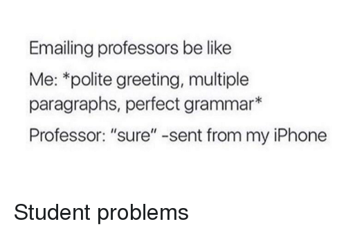 """greeting: Emailing professors be like  Me: *polite greeting, multiple  paragraphs, perfect grammar*  Professor: """"sure"""" -sent from my iPhone Student problems"""