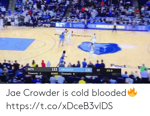 eme: eME  Fed  133 GRIZZLIES  131  :03.0  от  NETS  BONUS Timeouts: O  Timeouts: 1 Jae Crowder is cold blooded🔥 https://t.co/xDceB3vlDS